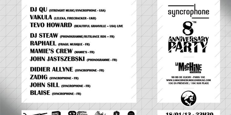 SYNCROPHONE 8th Anniversary: DJ Qu, Vakula, Tevo Howard...